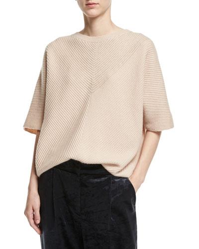 Cashmere Monili-Rib Short-Sleeve Pullover