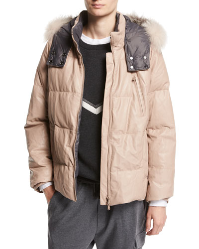 Leather Puffer Jacket with Fur-Trim Hood