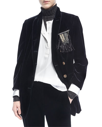 Velvet Blazer w/Feather Pin