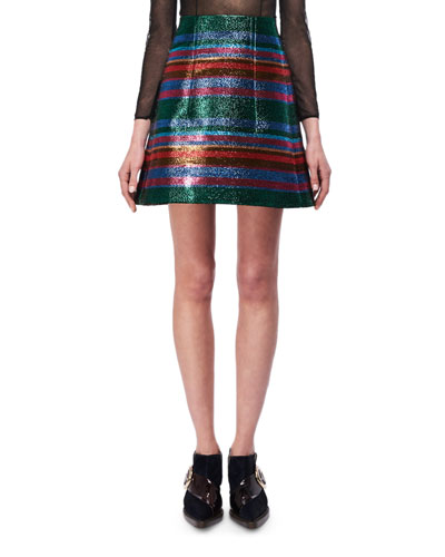 Metallic Striped A-Line Miniskirt