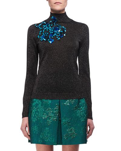 Embellished Metallic Mock-Neck Sweater