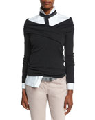Cashmere-Blend Crossover Sweater