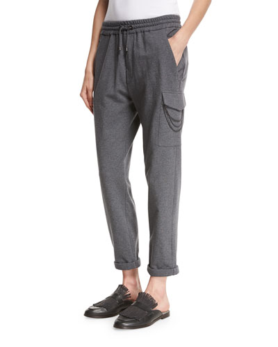 Spa Jogger Pants with Monili Chain