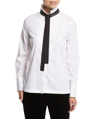 Poplin Blouse w/Monili Tie Collar