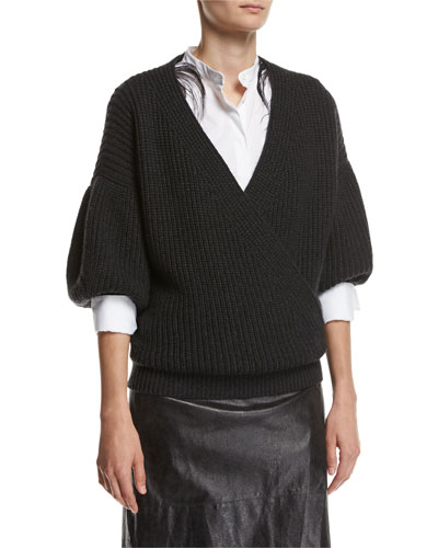 English-Rib Cashmere Balloon-Sleeve Pullover