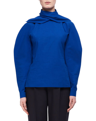 Draped-Collar Full-Sleeve Poplin Blouse