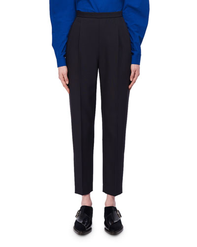 Cropped Slim Wool-Silk Trousers
