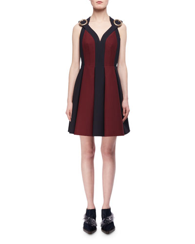 Bicolor Boucle Buckle-Strap Cocktail Dress