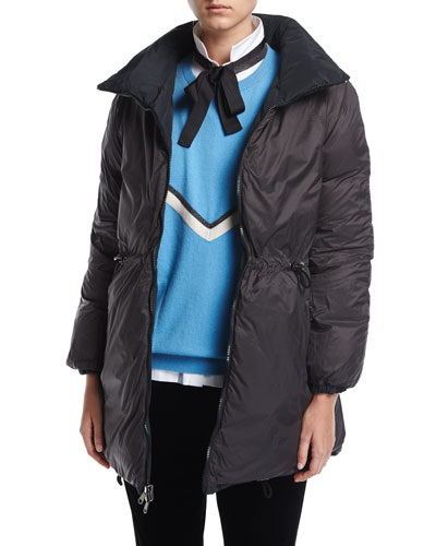 Taffeta Down Parka with Fur-Trim Hood