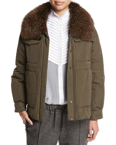 Taffeta Puffer Jacket with Fox Fur Collar