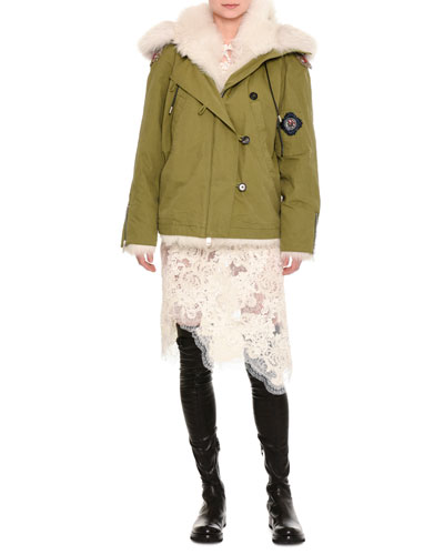 Fur-Lined Parka with Patches, Olive
