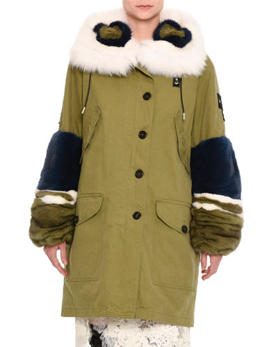Knee-Length Parka with Fur Trim