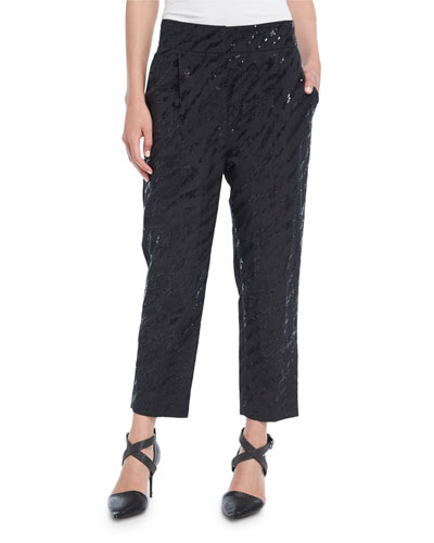 Animale Paillette Cropped Straight-Leg Pants