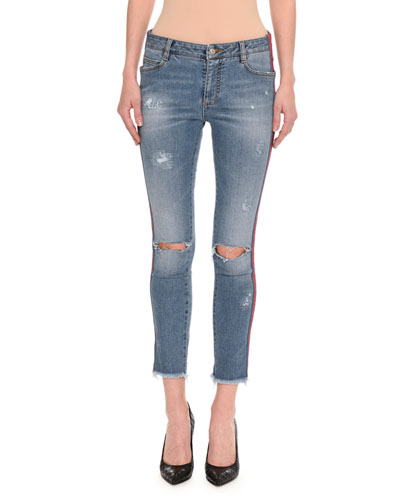 Distressed Side-Stripe Skinny Jeans, Indigo