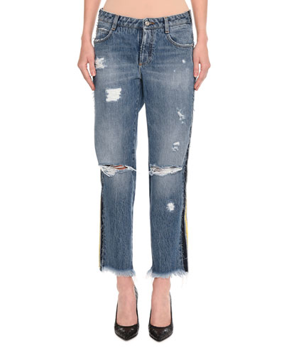 Distressed Side-Stripe Cropped Boyfriend Jeans, Indigo