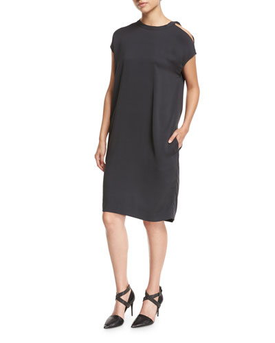 Cold-Shoulder Monili-Trim Silk Crepe Shift Dress