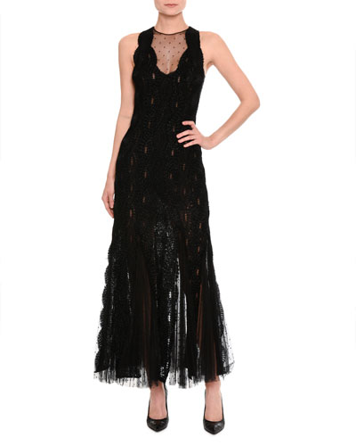 Lace & Tulle Sleeveless Gown