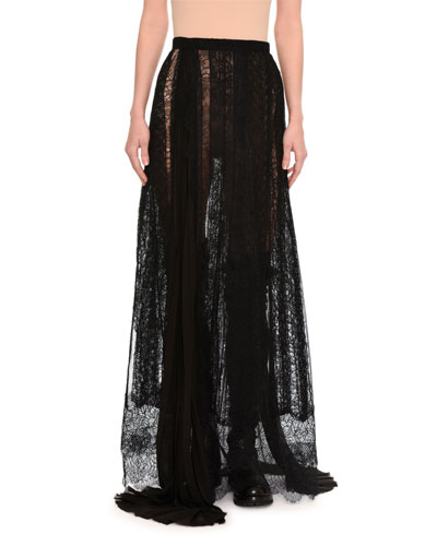 Paneled & Layered Lace Maxi Skirt