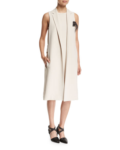 Quick Look. Brunello Cucinelli · Silk Crepe Vest Dress ...