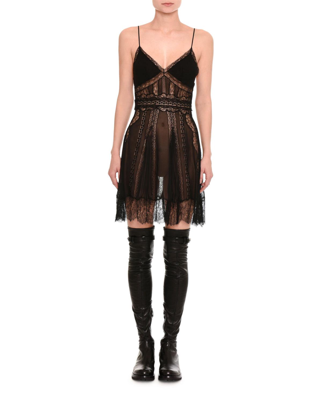 Lace-Inset Slip Dress