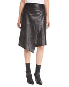 Leather Faux-Wrap Midi Skirt