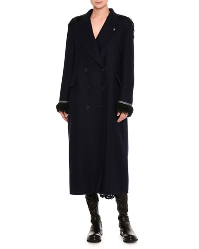 Beaded Double-Breasted Virgin Wool Overcoat