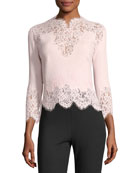 3/4-Sleeve Scalloped Lace Top