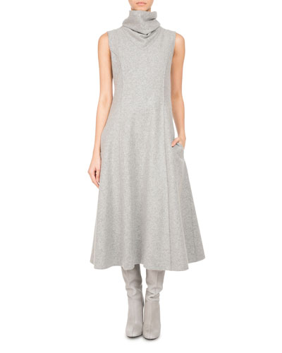Sleeveless Wool Jersey Turtleneck Midi Dress, Gray