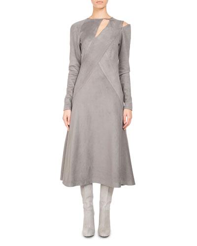 Faux-Suede Cutout Midi Dress