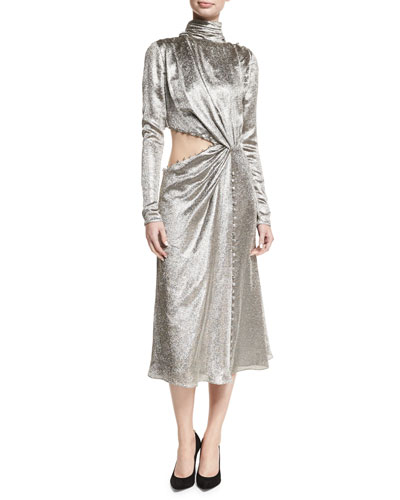 Metallic Asymmetric Cutout Midi Dress