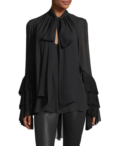 Tiered Plisse-Sleeve Silk Necktie Blouse
