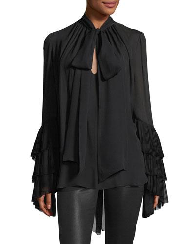 Tiered Plisse-Sleeve Silk Necktie Blouse