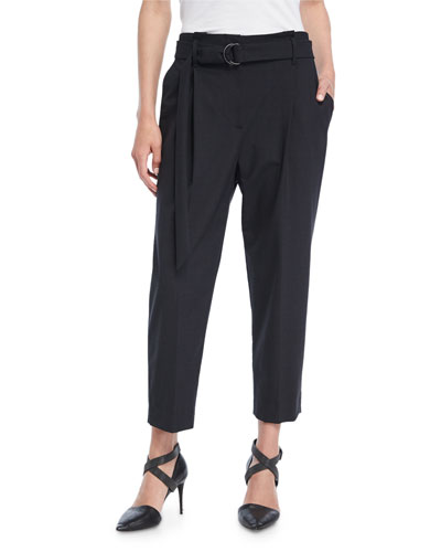 Cropped Pleat-Front Pants w/Belt