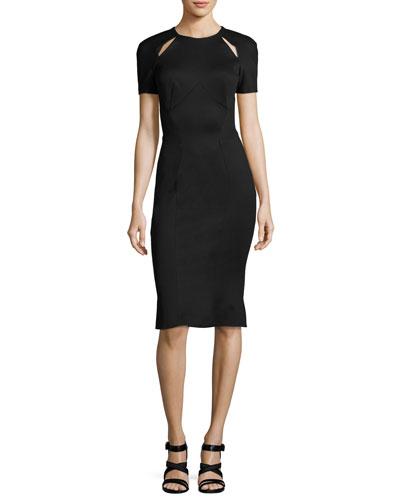 Short-Sleeve Cutout-Shoulder Sheath Dress, Black