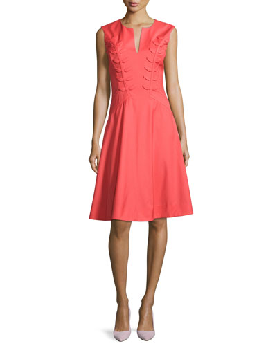 Fern-Embroidered Virgin Wool Fit & Flare Dress, Apricot