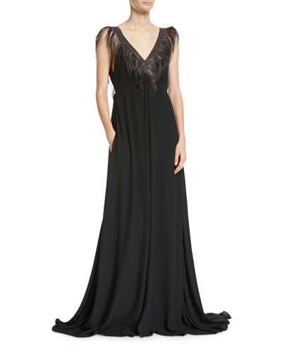 Feather & Monili V-Neck Silk Evening Gown