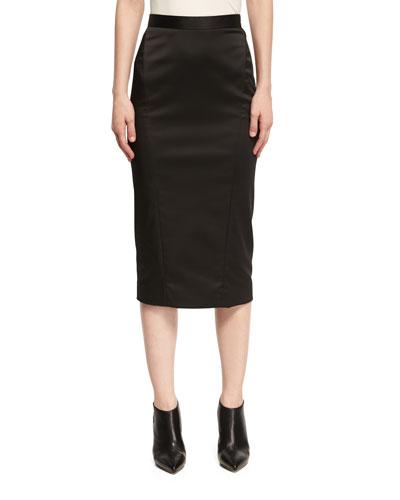 Satin Pencil Skirt