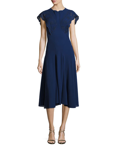 Eyelet Flutter-Sleeve Midi Dress, Navy