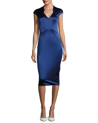 Cap-Sleeve Satin Sheath Dress, Royal Blue