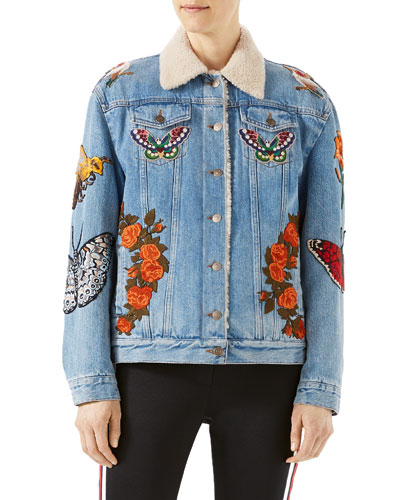Embroidered Denim Jacket with Shearling Fur Lining, Light Blue