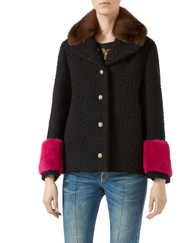 Short Caban Coat with Mink Fur, Multicolor