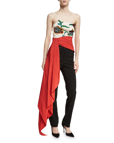 Floral-Embroidered Strapless Top with Sash