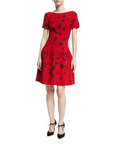 Poppy-Print Short-Sleeve Fit & Flare Dress
