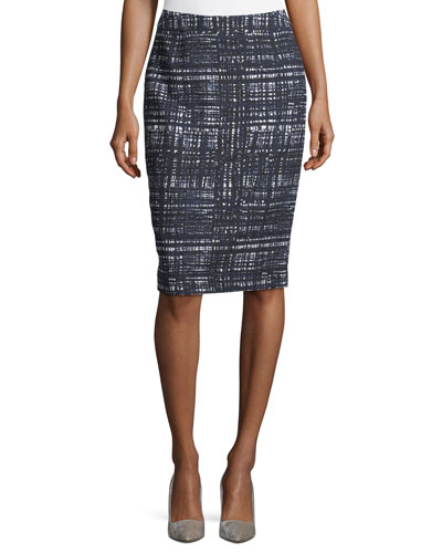 Cotton Textured Tweed Pencil Skirt