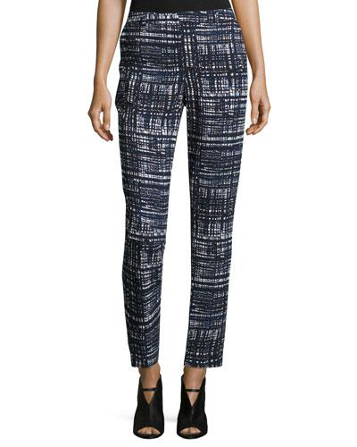 Talas Weave-Print Ankle Pants