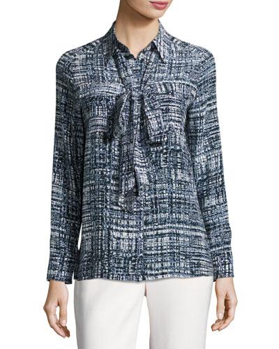 Weave-Print Silk Necktie Blouse