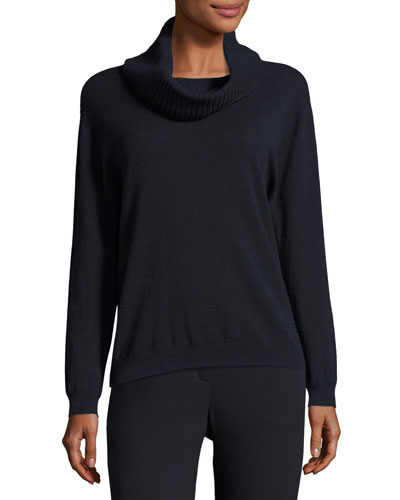 Wool-Cashmere Sweater with Removable Cowl-Neck