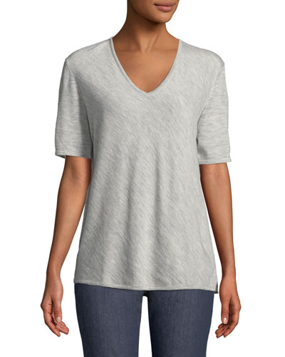 V-Neck Short-Sleeve Diagonal Cashmere Top