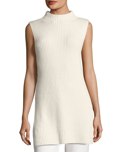Ribbed Wool-Cashmere Mock-Neck Tunic