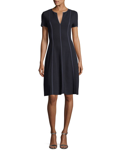 Fit & Flare Seamed Wool-Viscose Dress